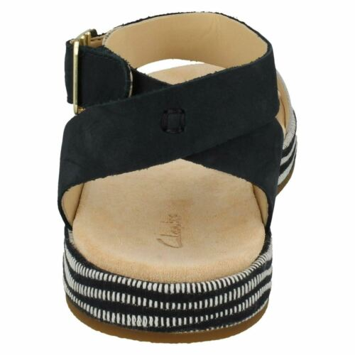 LADIES CLARKS LEATHER BUCKLE ANKLE STRAP CASUAL SANDALS OPEN TOE BOTANIC IVY