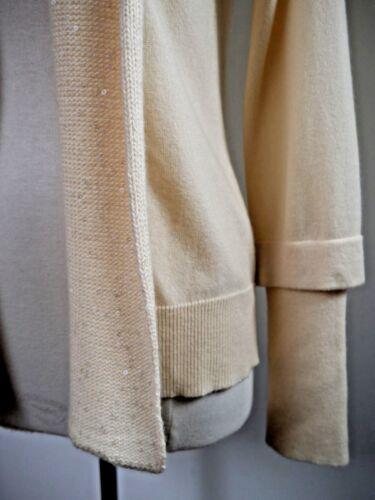 New Cashmere Brunello 100 Trim 1 Open 295 Sequin Cucinelli Sweater L Cardigan ZHZpqrnO