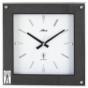 Atlanta-4391-Wanduhr-Funk-Funkwanduhr-analog-eckig-Carbon-Optik-mit-Glas