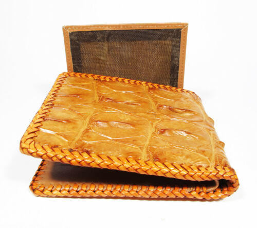 New Tan Brown Genuine Alligator Crocodile Back Bone Skin Mens Bi-fold Wallet.