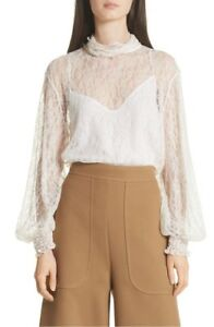 6ca74afd1d2207 Image is loading Sheer-Lace-Blouse-SEE-BY-CHLOE-size-36