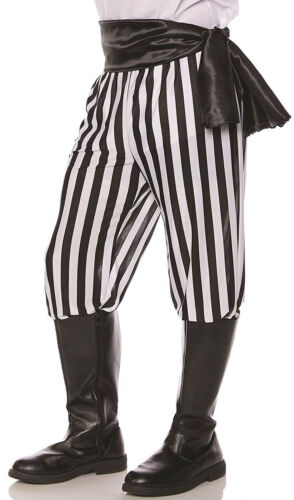 Pirate Black White Mens Adult Buccaneer Halloween Costume Pants