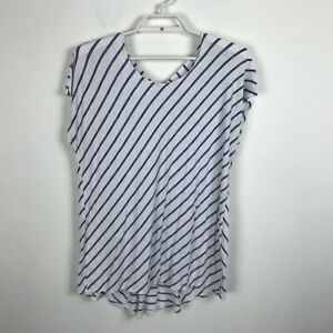 Chico-039-s-Blouse-Size-1-Blue-White-Striped-Short-Sleeve-Criss-Cross-Back-Top-Shirt
