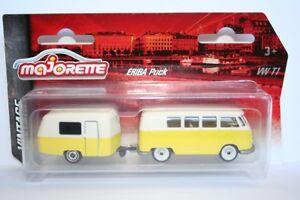 Majorette 212052014 - Vintage Cars - Vw T1 Samba Mit Eriba Puck Trailer - Gelb