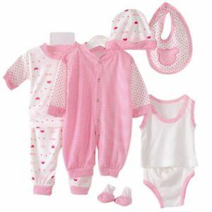 5Pcs-Kids-Baby-Clothes-Romper-Bodysuit-Unisex-Outfit-Tops-Pants-Bib-Hats-Set