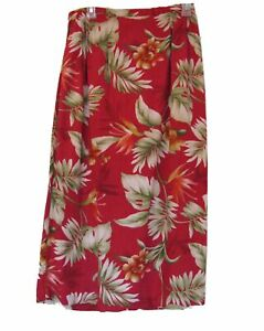 RAYON-Tropical-Skirt-Size-10-L-ALFRED-DUNNER-Red-Floral-Casual-Straight