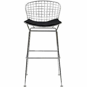 Strange Details About Bertoia Style Wire Bar Stool In Black Theyellowbook Wood Chair Design Ideas Theyellowbookinfo