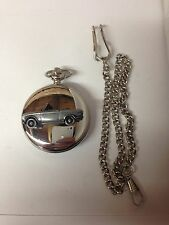 Peugeot 204 Cabrio ref178 car emblem on a polished Silver Case Pocket Watch