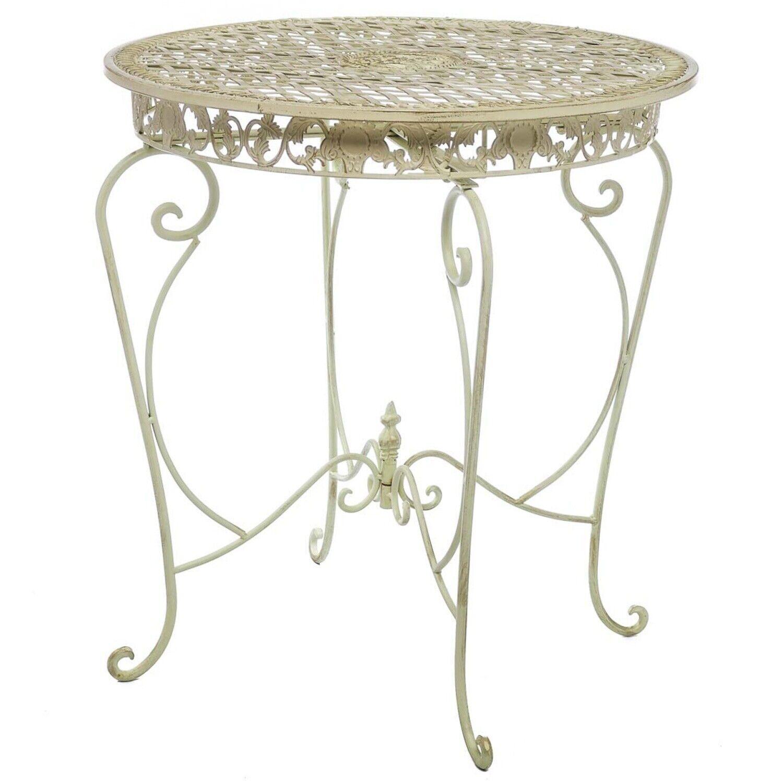 Mesa de jardín mesa jardín 73cm hierro Antik-estilo muebles de jardín crema blancoo Iron
