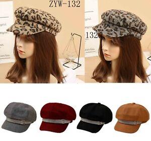 Women/'s Ladies Animal Leopard Print Baker Boy Hat Cap One Size New 2018