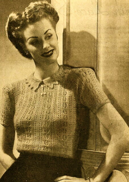 b7280e24a Vintage 1940s knitting pattern-how to make this pretty lace stitch ladies  jumper