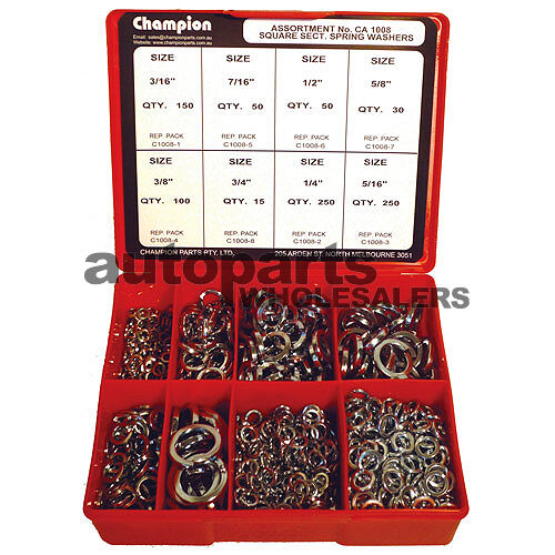 CHAMPION SQUARE SECTION SPRING WASHERS IMPERIAL ASSORTMENT KIT 895 Pieces