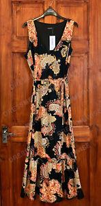 Evans Kurve schwarz Blumendruck Maxi Midi Kleid Mit Gürtel Plus Größe 14 bis 28