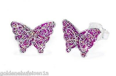 Glitzer Schmetterling Ohrstecker Echt 925 Silber Mädchen Ohrringe Geschenkidee