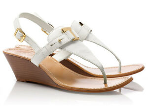 7b3c0a3fba26 NEW TORY BURCH Casey T-Strap Logo Leather Wedge Thong Sandal 11 M ...