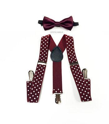Kids Toddler Burgundy Bow Tie Polkadot Suspenders Set Barnyard Wedding Groomsmen