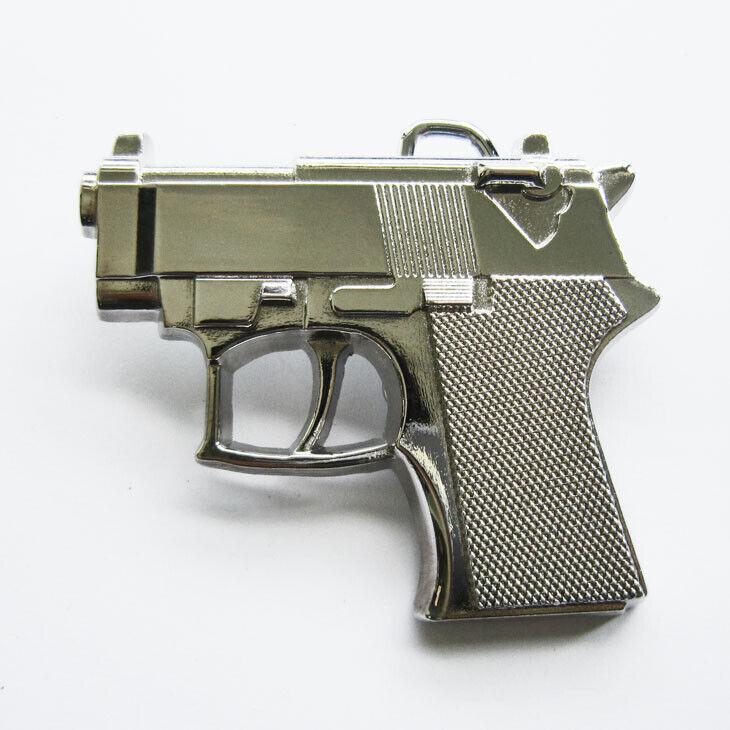 Shiny Chrome Finish Small Hand Gun Metal Fashion Belt Buckle