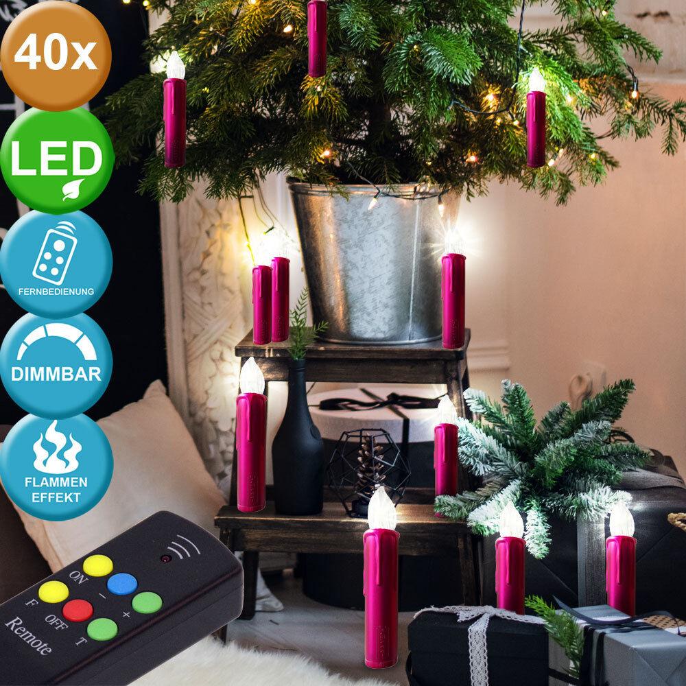 40 x árbol de Navidad velas de de de Navidad ventana decoración temporizador dimmer remoto control 146812