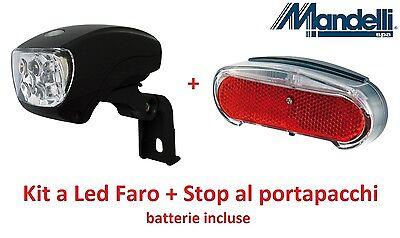 Stop al portap 04 Kit a Led con batterie Faro per Bici 20-24-26-28 Trekking