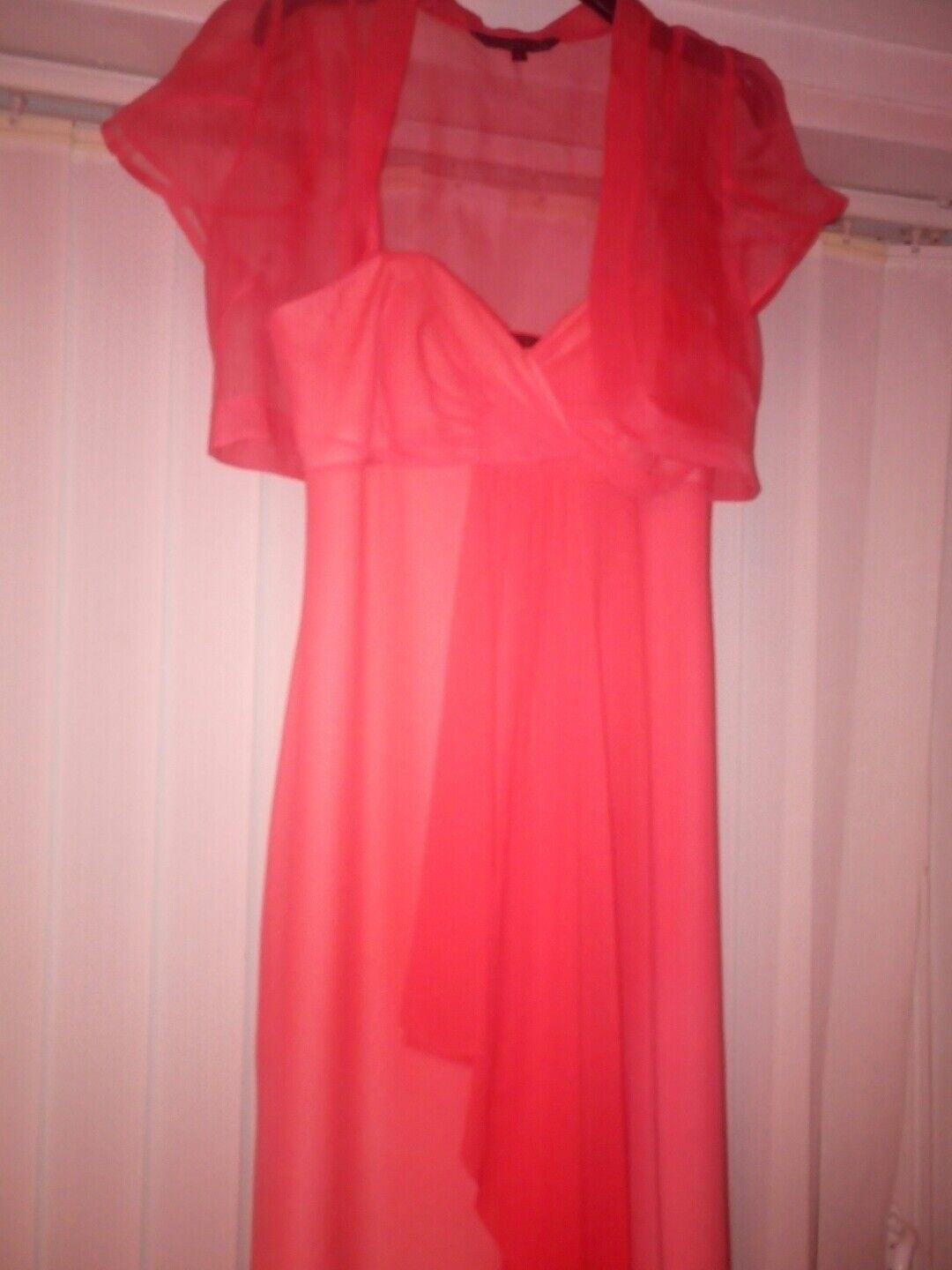 Stunning Coast Coral Silk Maxi Party Shrug 50s Bridesmaid Prom Size 10 RRP