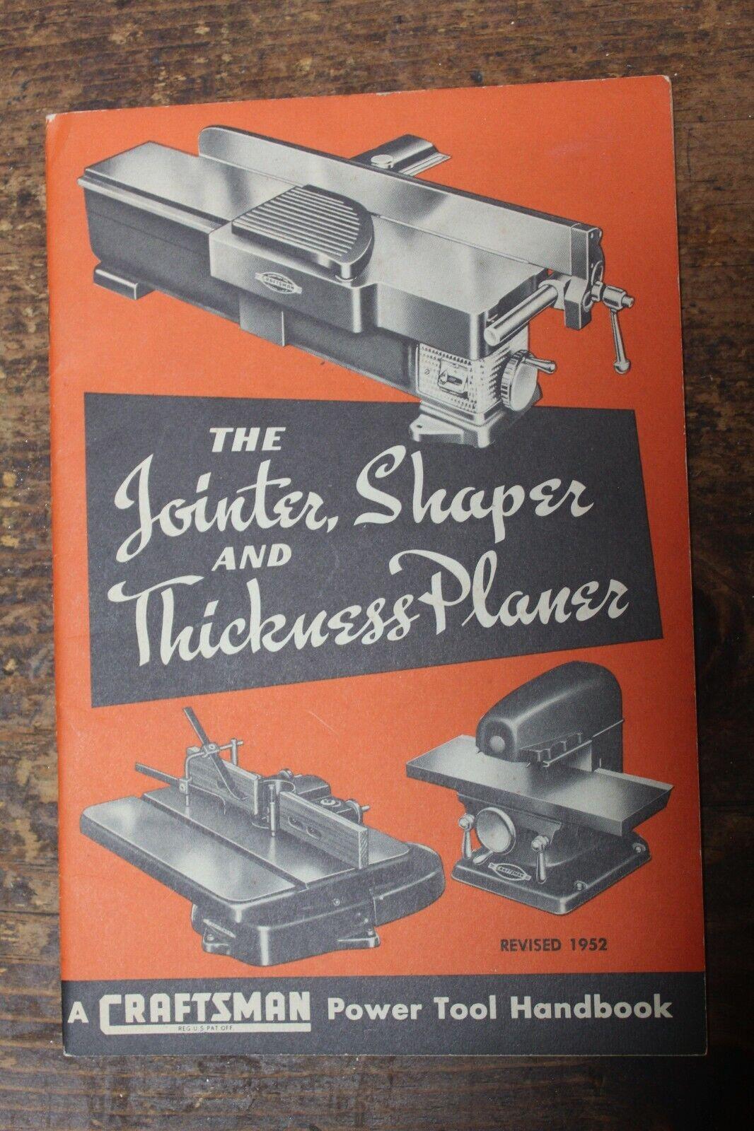 Craftsman JOINTER SHAPER THICKNESS PLANER Power Tool Handbook 1952, Nice