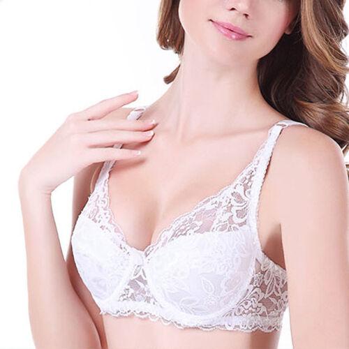 Ladies Soft Lace Bra Plunge Underwired 32-44 A B C D DD E Cup Underwear Bralette