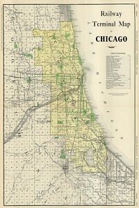 Chicago Railway Map 1923 Reproduction Multiple Sizes11x17-24x36