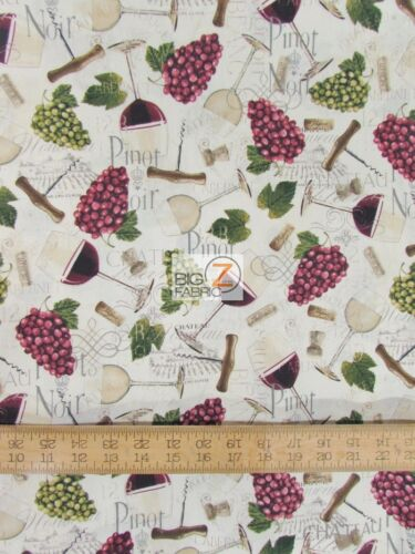 CHATEAU NOVEAU GRAPES AND WINE BY DAVID TEXTILES 100/% COTTON FABRIC FH-687
