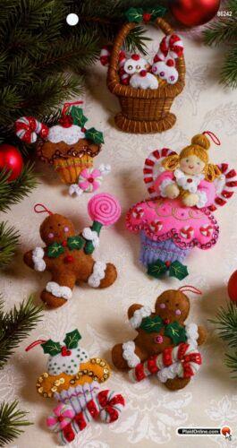 Bucilla Cupcake Angel ~ 6 pce Felt Christmas Ornament Kit #86242 Gingerbread