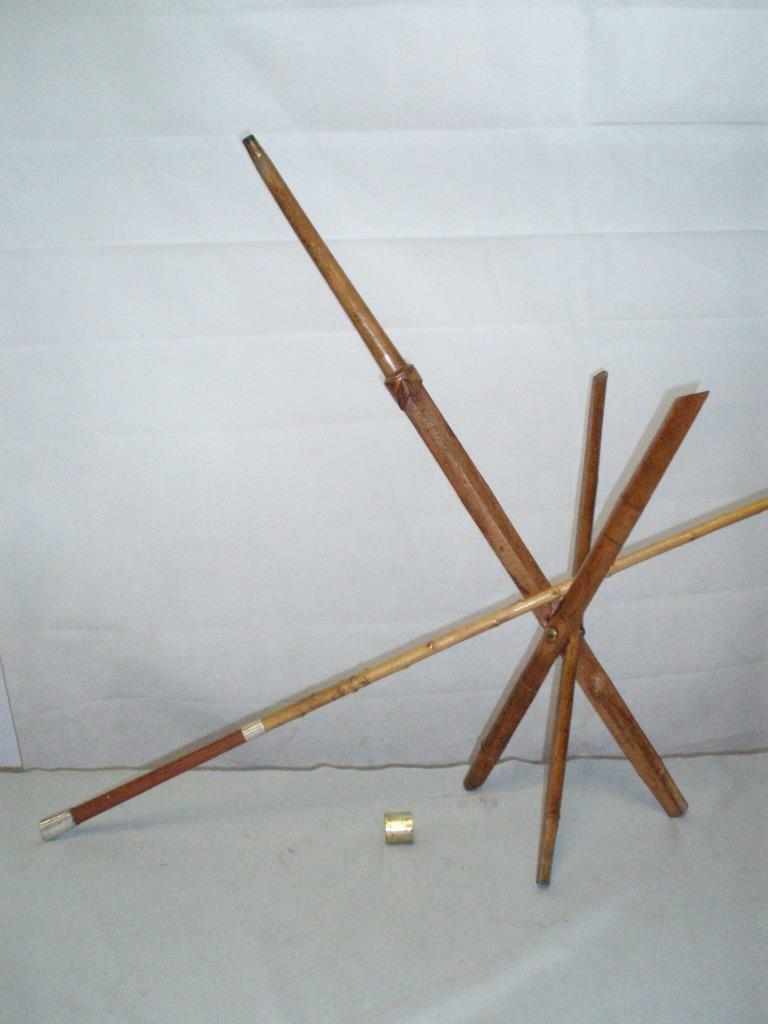 RARE  ANTIQUE FISHING ROD HOLDER FOLDING TRIPOD .