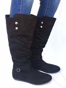 d0c61e711416 Women s Fashion Flat Heel Mid-Calf Knee High Slouch Riding Boots ...
