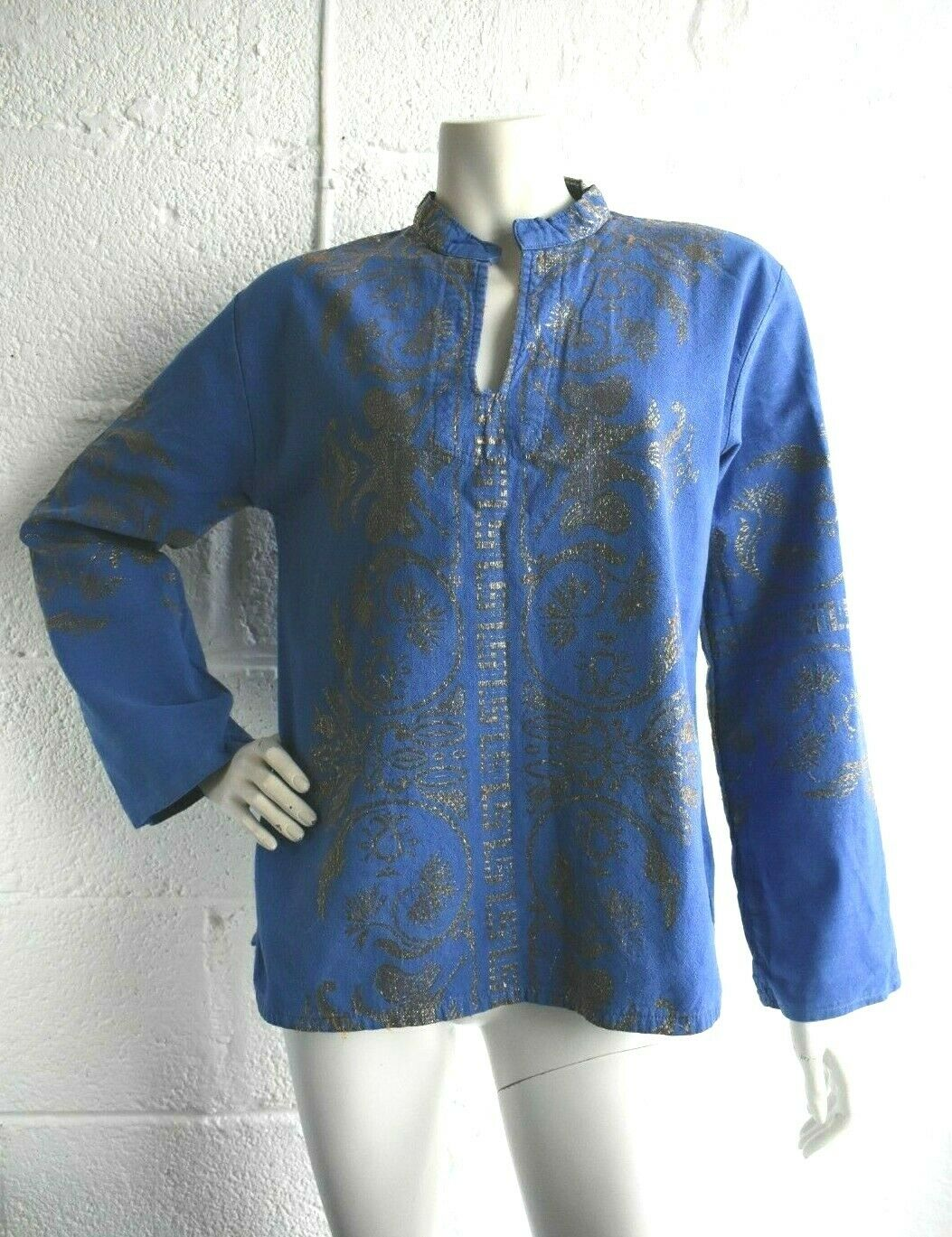 Rare Vintage 60's Blue Gold Metallic Woven Indian Style Hippy Festival Tunic (S)