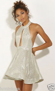 Shimmering-Silver-Party-Dress-Cocktail-Halter-Top-Flounce-Skirt-S-8-10-Evening