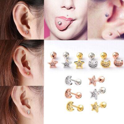 Unisex Ear Piercing Lip Body Labret Cartilage Helix Star Moon Barbell Ear Stud