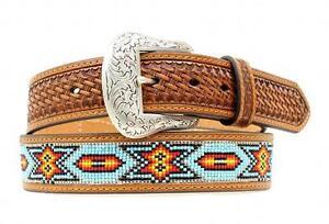 Nocona Western Mens Belt Beaded Inlay Tooled Basket Brown N2412808