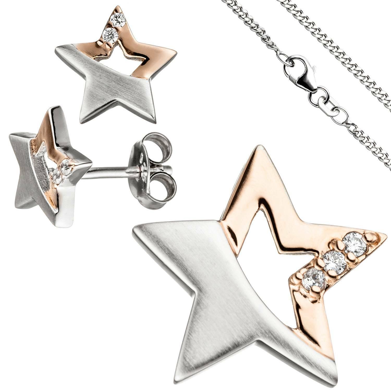 Jobo gioielli per bambini-Set Stella argentoo 925 925 925 dorato oro rosa zirconi con catena 3 2104e5