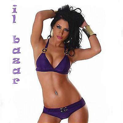 bikini triangolo viola con dettagli nero-oro taglie small,medium,large