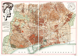 Barcelona Spain Map 1891 Historical Vintage Town Map City Map Wall Poster Print Ebay