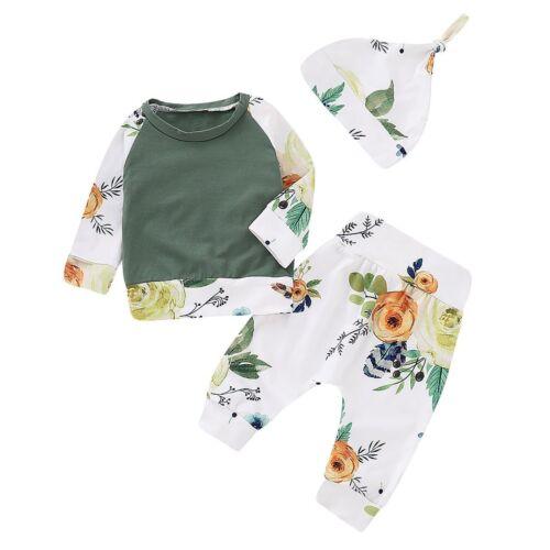 3PCS Newborn Infant Baby Girl Outfits Clothes Set T-shirt Tops+Pants Legging+Hat