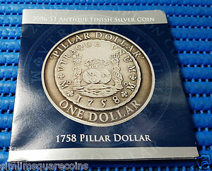 2006-Australia-1-Antique-Finish-Coin-1758-Pillar-Dollar-Re-creation