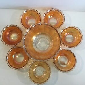 Vintage Marigold Carnival Gl Berry Serving Bowl 7