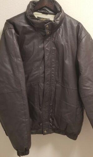 Vintage Eddie Bauer  Goose Down Brown Leather Puff