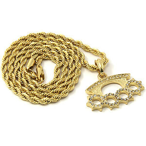 Mens gold iced cz knuckle duster pendant 30 rope chain hip hop image is loading mens gold iced cz knuckle duster pendant 30 mozeypictures Choice Image