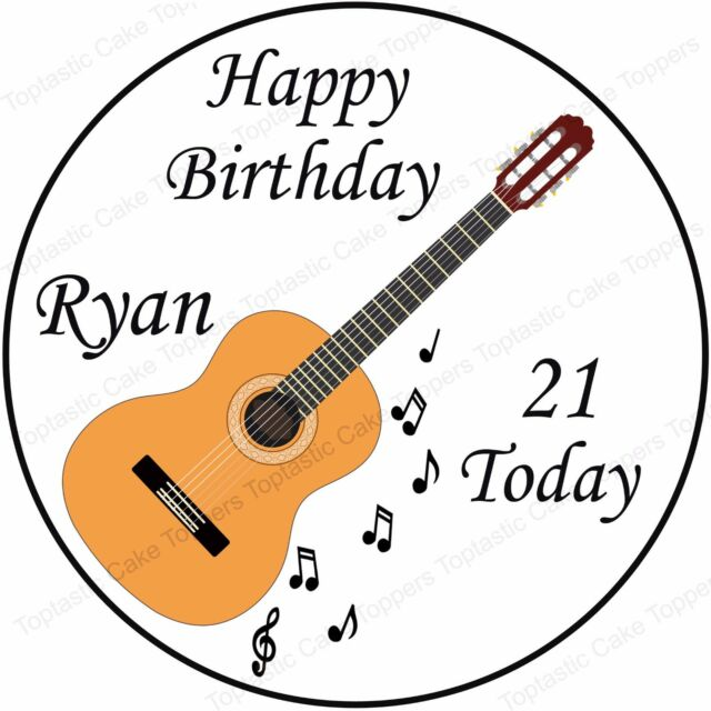 Personalised Acoustic Guitar Music Notes Edible Icing Birthday Party