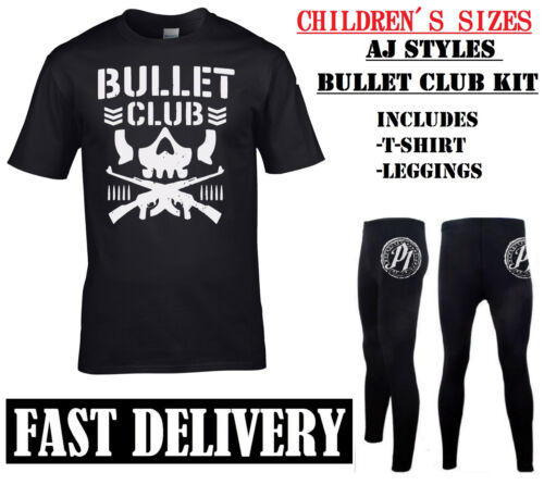 Childrens AJ STYLES Bullet Club njpw Costume Sport Costume da Lottatore Kids