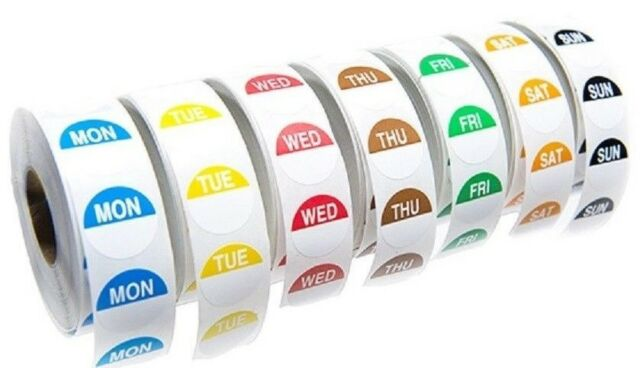 Day Dot Food Labels Set of 7 Rolls x 1000 Catering Stickers in Dispenser Boxes