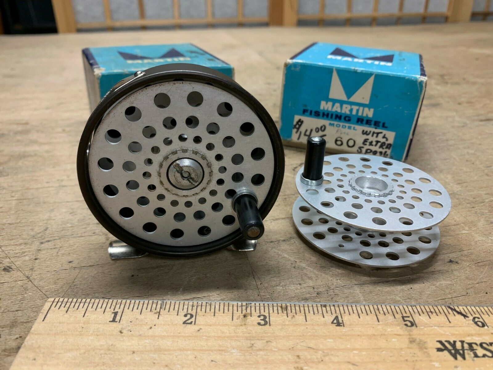 Vintage Martin Model 60 Fly Fishing Reel Collector Rare  Tuna Can w  EXTRA REEL   10 days return