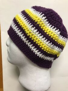 Mens TEEN Crochet SKI Hat Beanie USA Handmade New purple MINNESOTA ... 9dbed00ba