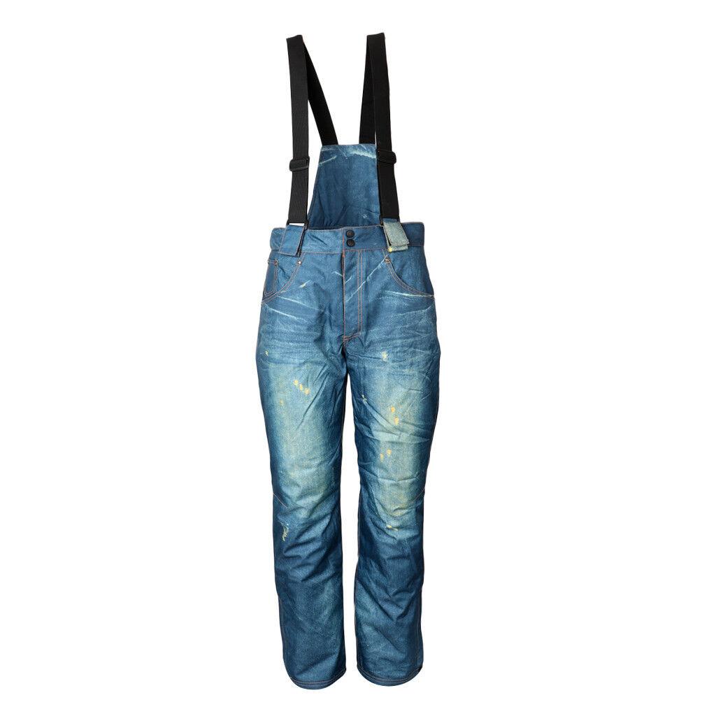 Men Ski Snow Pants Denim Waterproof Outdoor Jeans Trouser w  Detachable Bib