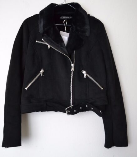 Xl Zara Jacket 1255 L effekt Suede Sort M 2017 267 Ref Biker Størrelse Aw grYga